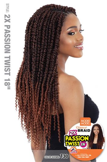 "Model Model Glance Braid 2x Passion Twist 18"" Crochet Hair"