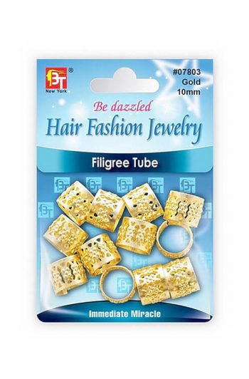 Beauty Town Gold Filigree Tube 10mm #7803