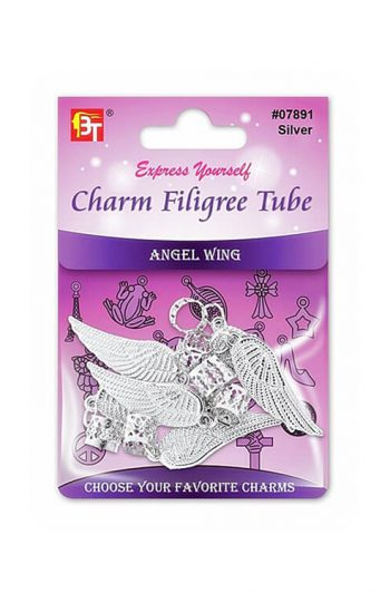 Beauty Town Silver Charm Filigree Tube Angel Wing #07891
