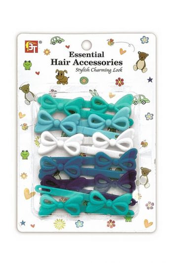 Beauty Town infinity Bow Kids Hair Barrettes Blue Mix