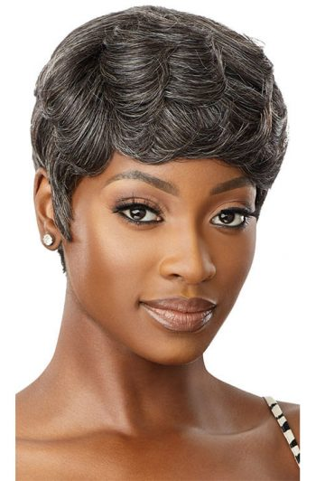 Outre Fab and Fly Gray Glamour HH-Addison 100% Human Hair Wig Front